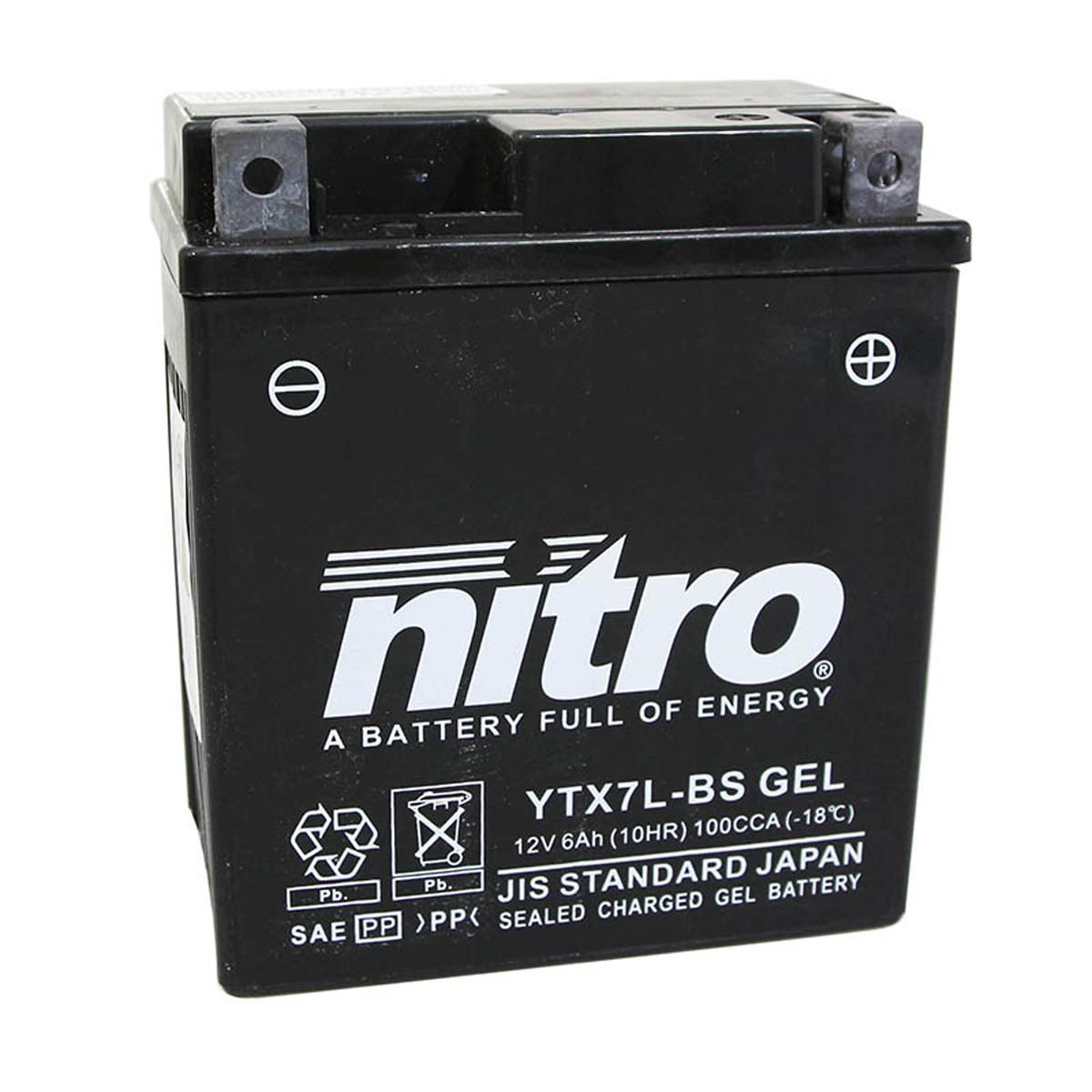 Batterie 12V 6Ah YTX7LBS - Nitro au Gel