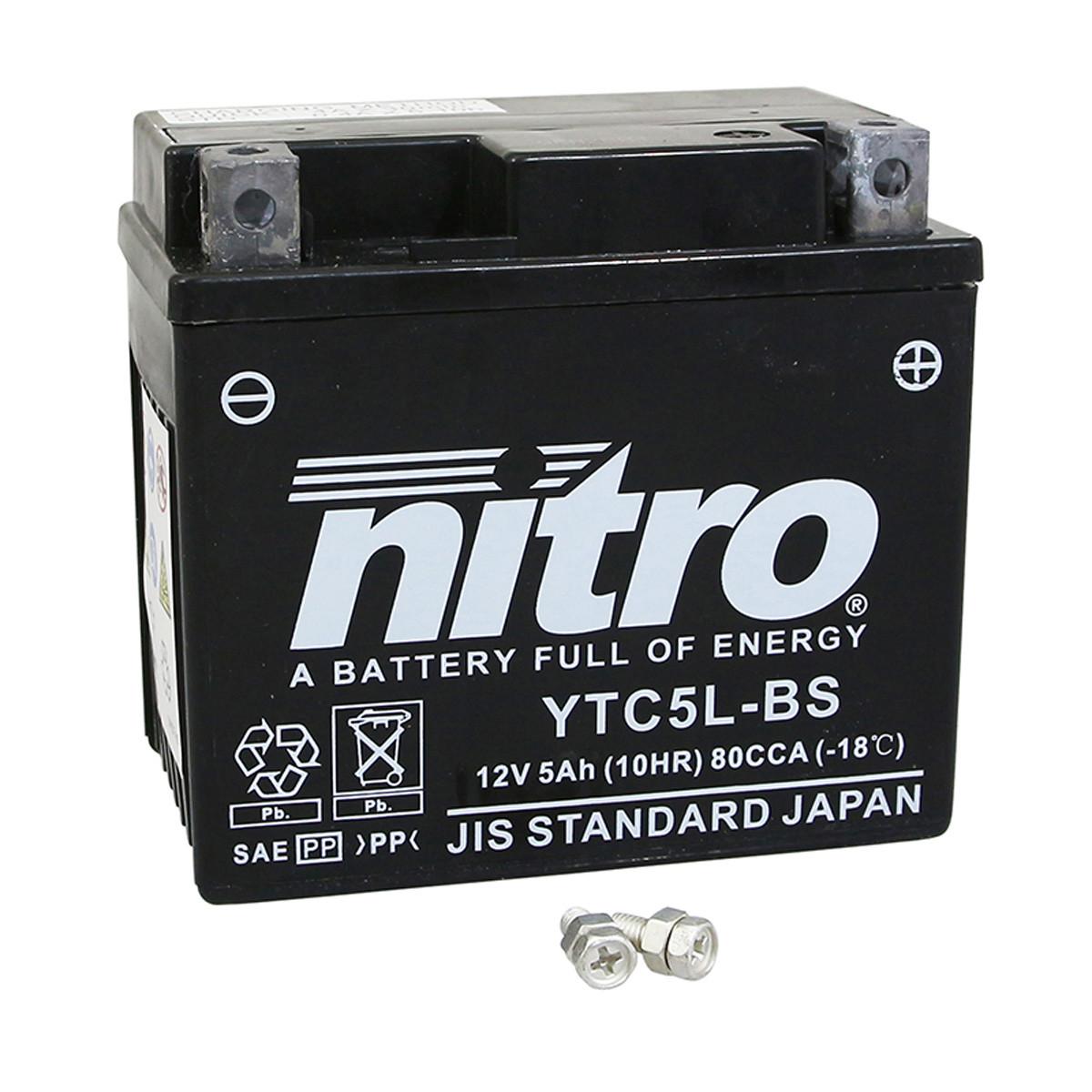 Batterie 12V 5Ah YTC5LB - NITRO sans entretien au Gel