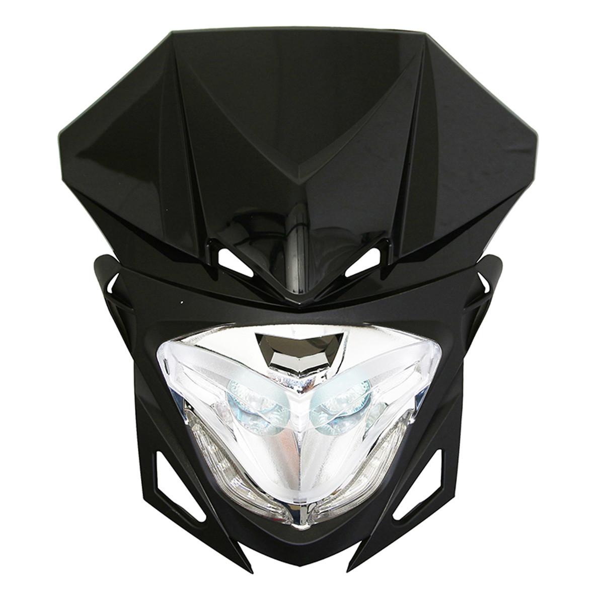 Tête de Fourche / Plaque phare - RR8 2x20w Noir à Leds blanc