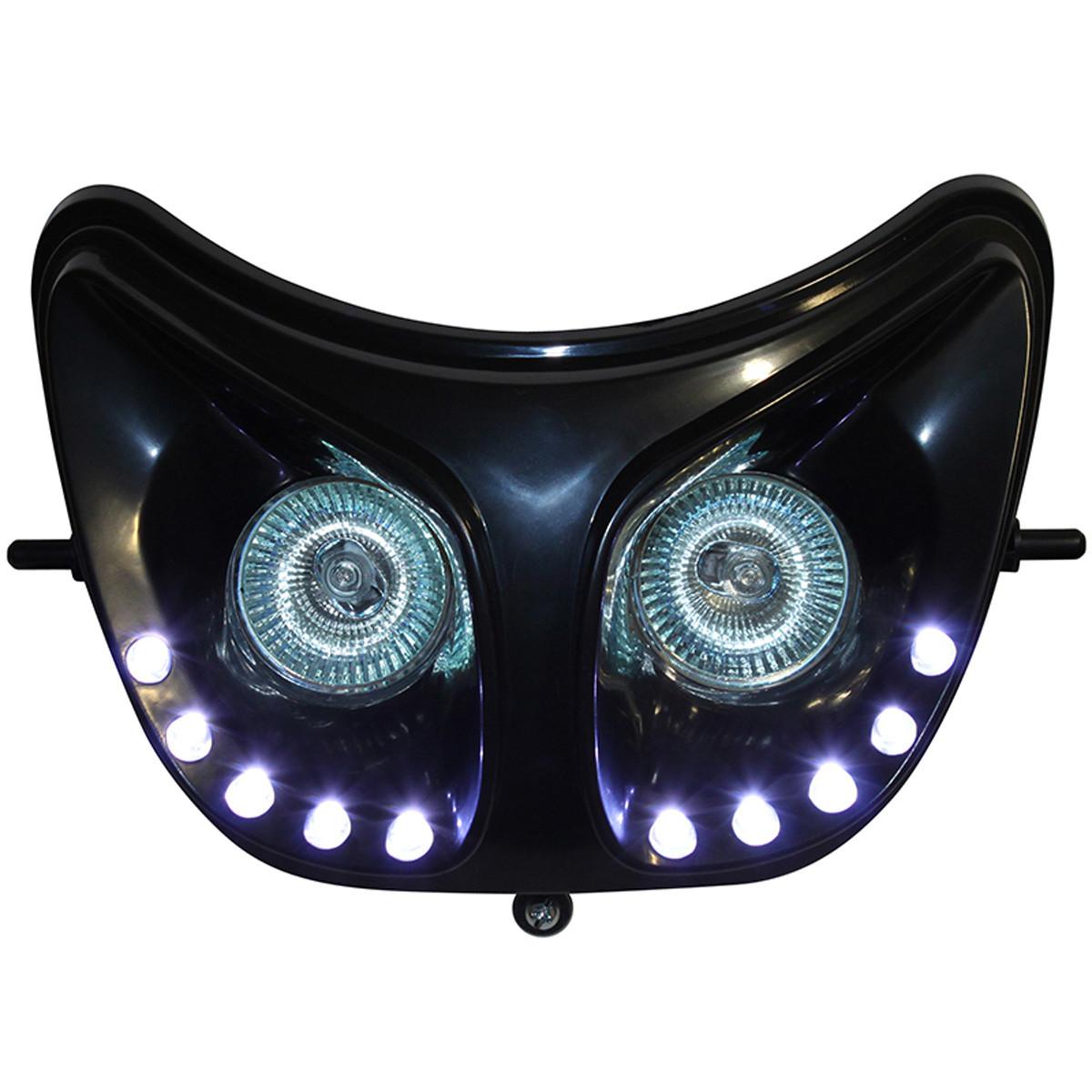Double Optique Derbi Senda - RR8 Noir à leds blanc