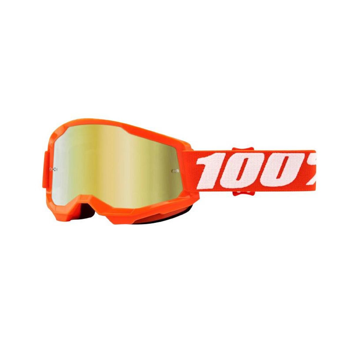 Masque / Lunettes Cross - 100% Strata 2 Essentiel Orange Ecran Miroir