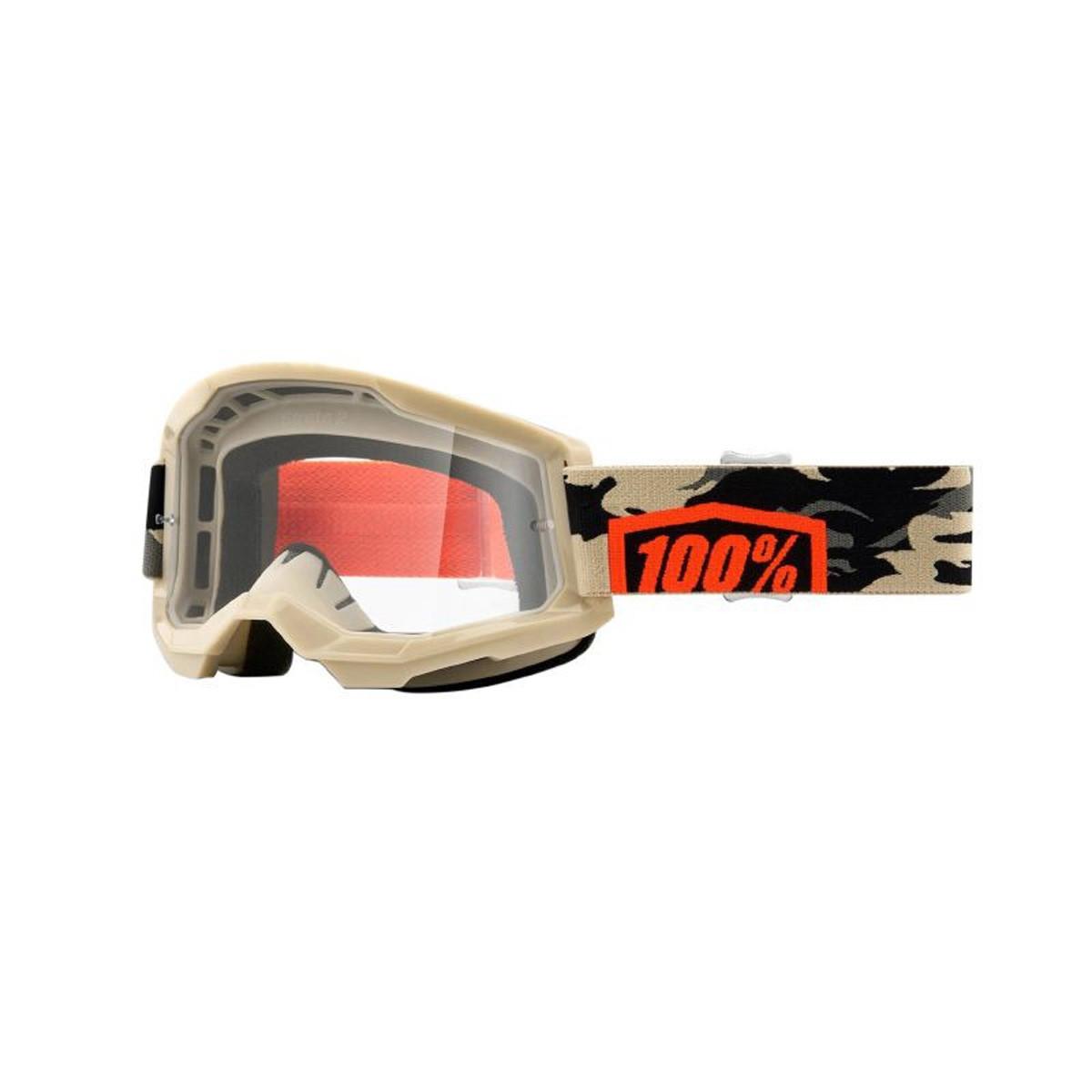 Masque / Lunettes Cross - 100% Strata 2 Kombat Beige Ecran Transparent