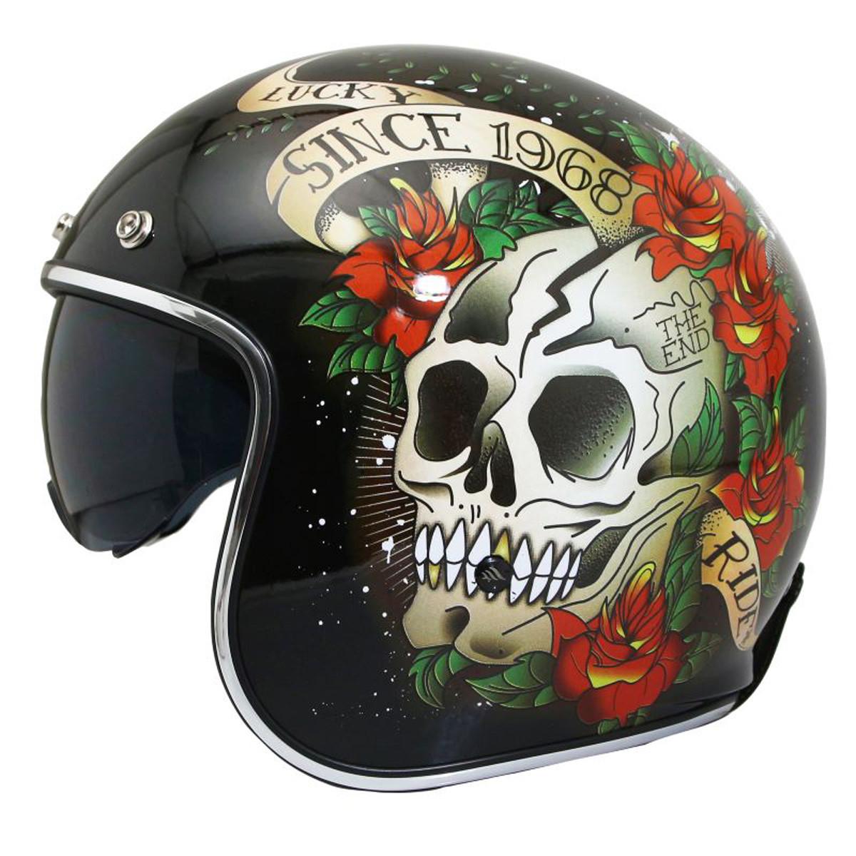 Casque Jet - MT Le Mans 2 SV Skull & Roses - Noir Brillant