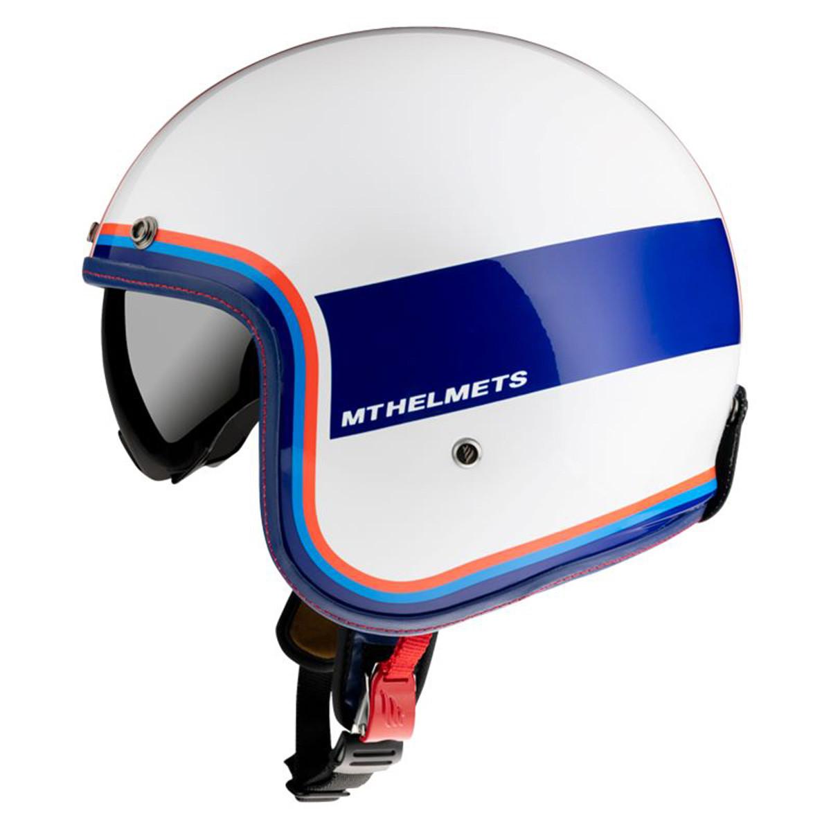 Casque Jet - MT Le Mans 2 SV Tant Blanc / Bleu Brillant