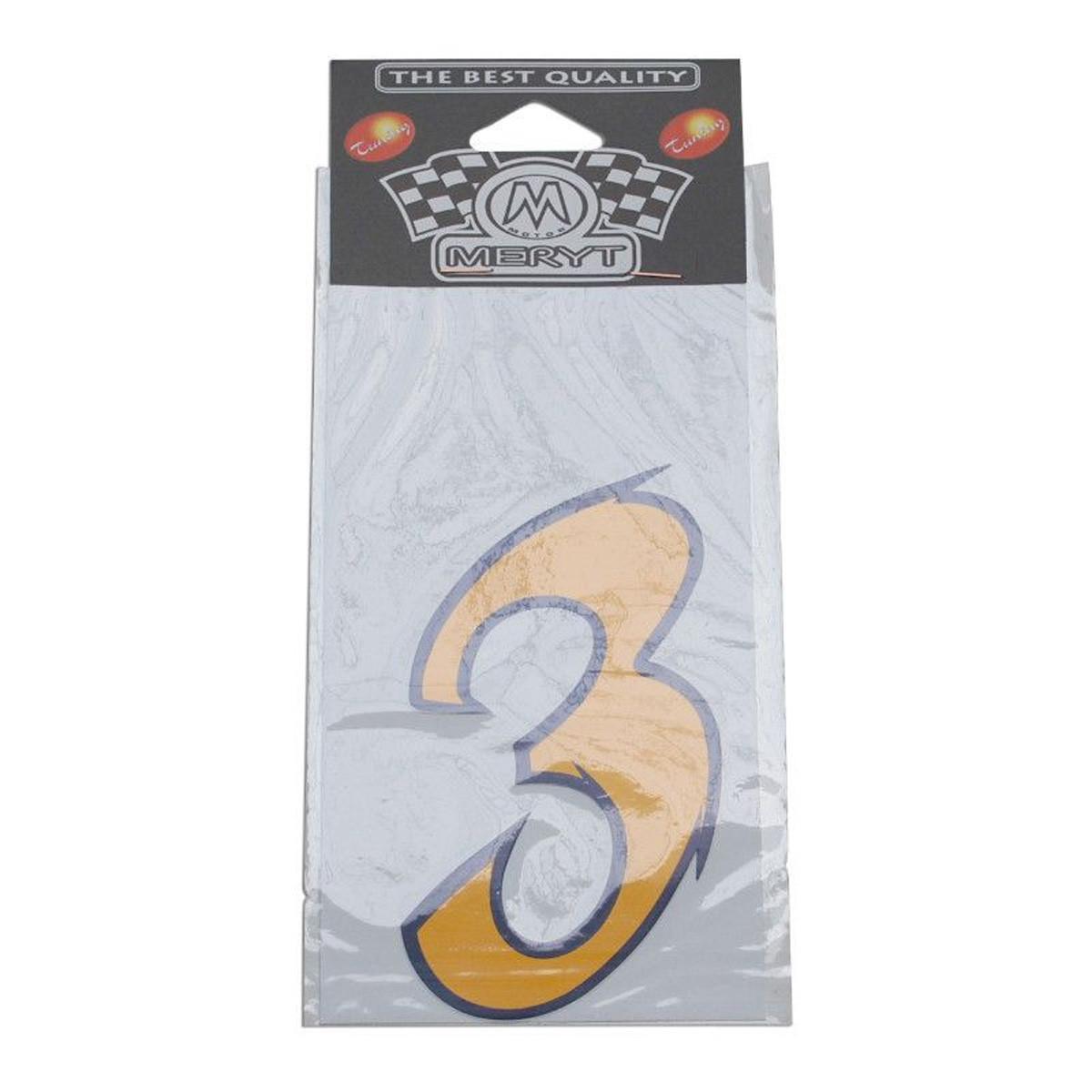 Autocollant / Sticker - MERYT Numéro 3 Jaune 9cm