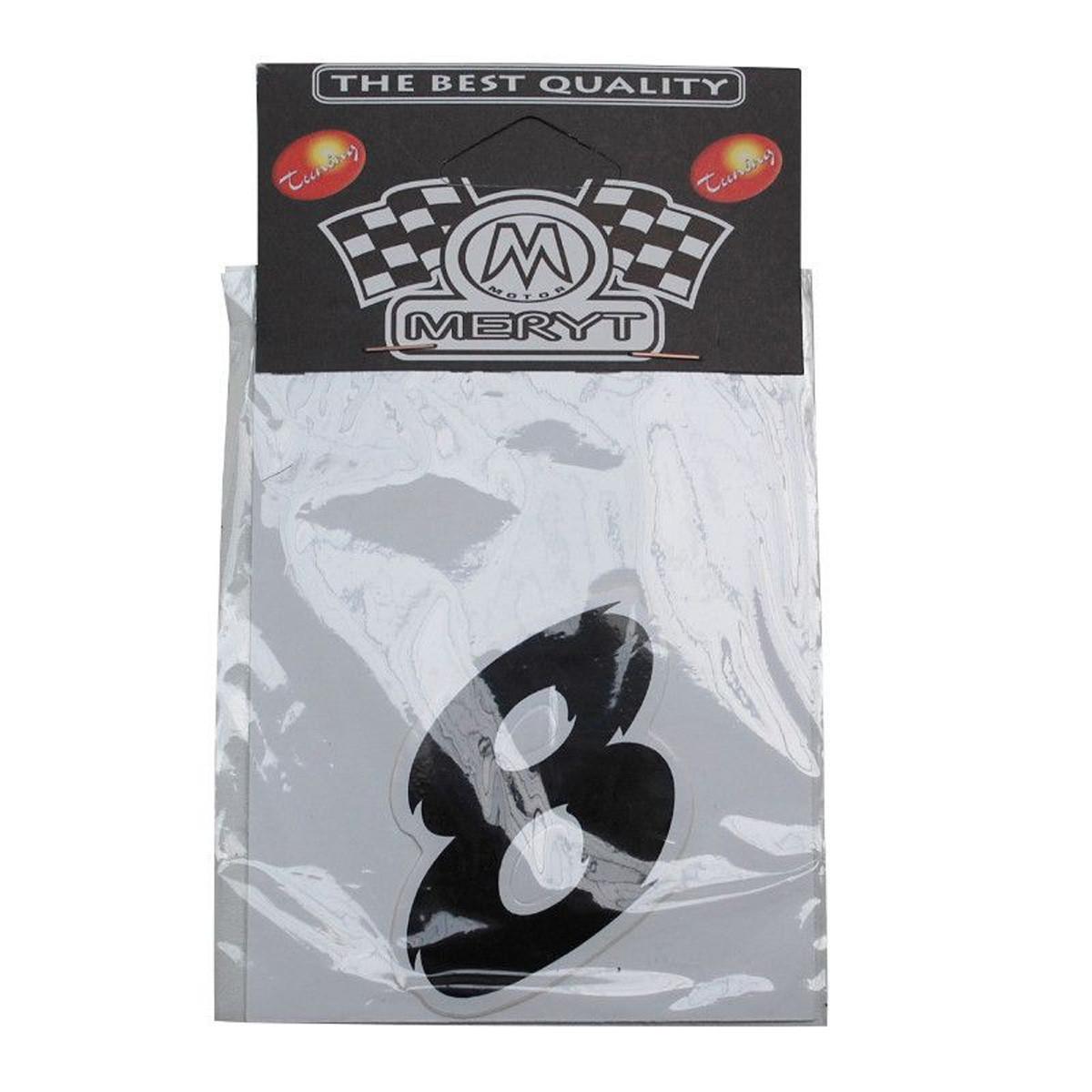 Autocollant / Sticker - MERYT - Numéro 8 - Noir- H 5.5 cm