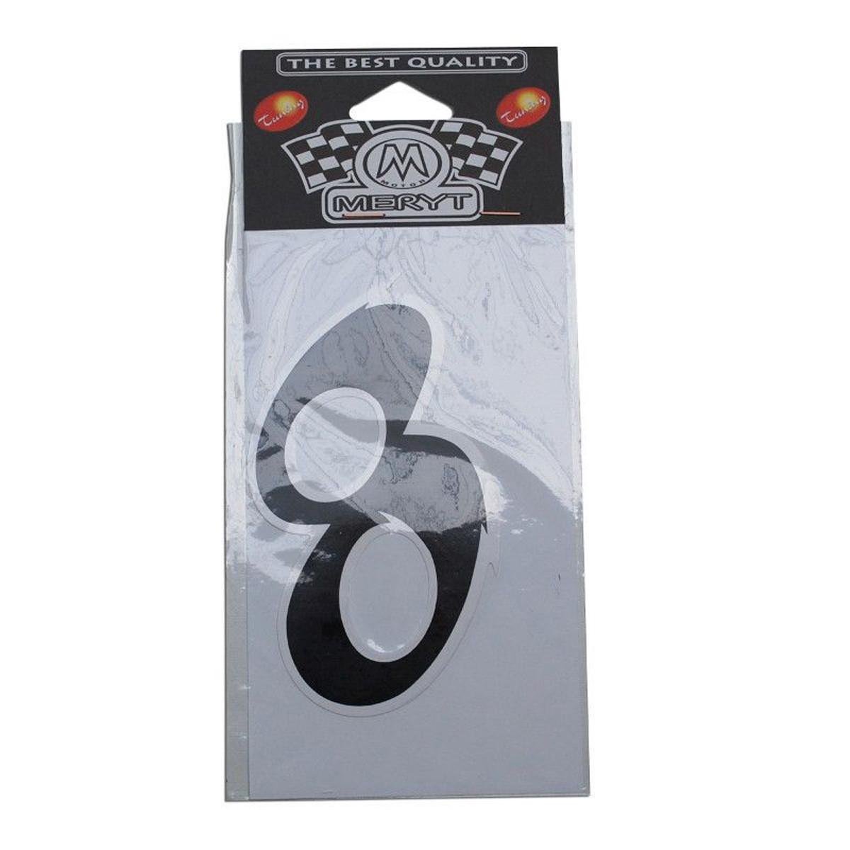 Autocollant / Sticker - MERYT - Numéro 8 - Noir- H 9 cm
