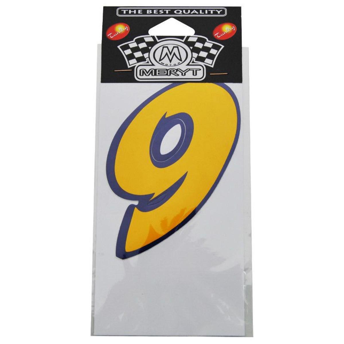 Autocollant / Sticker - MERYT - Numéro 9 - Jaune - H 9 cm