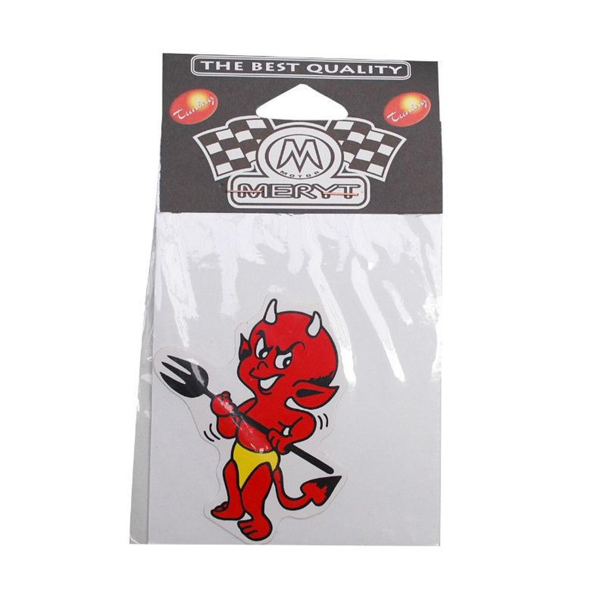 Autocollant / Sticker - MERYT Devil Petit Avec Trident 8 x 8.5cm