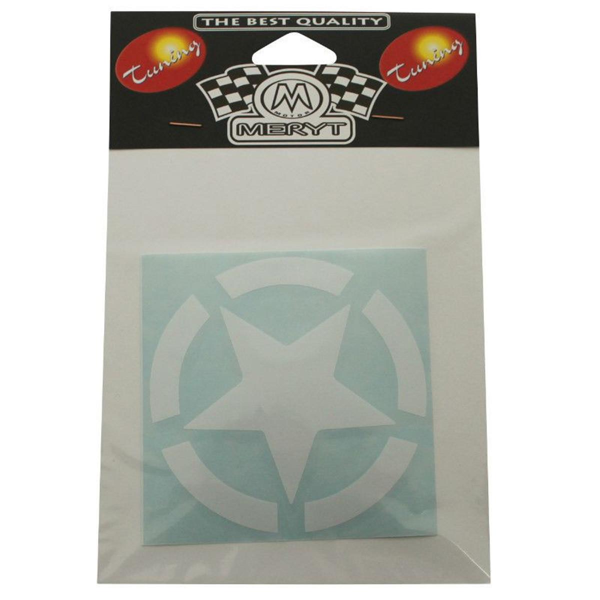 Autocollant / Sticker - MERYT Etoile Blanc 10 x 10cm