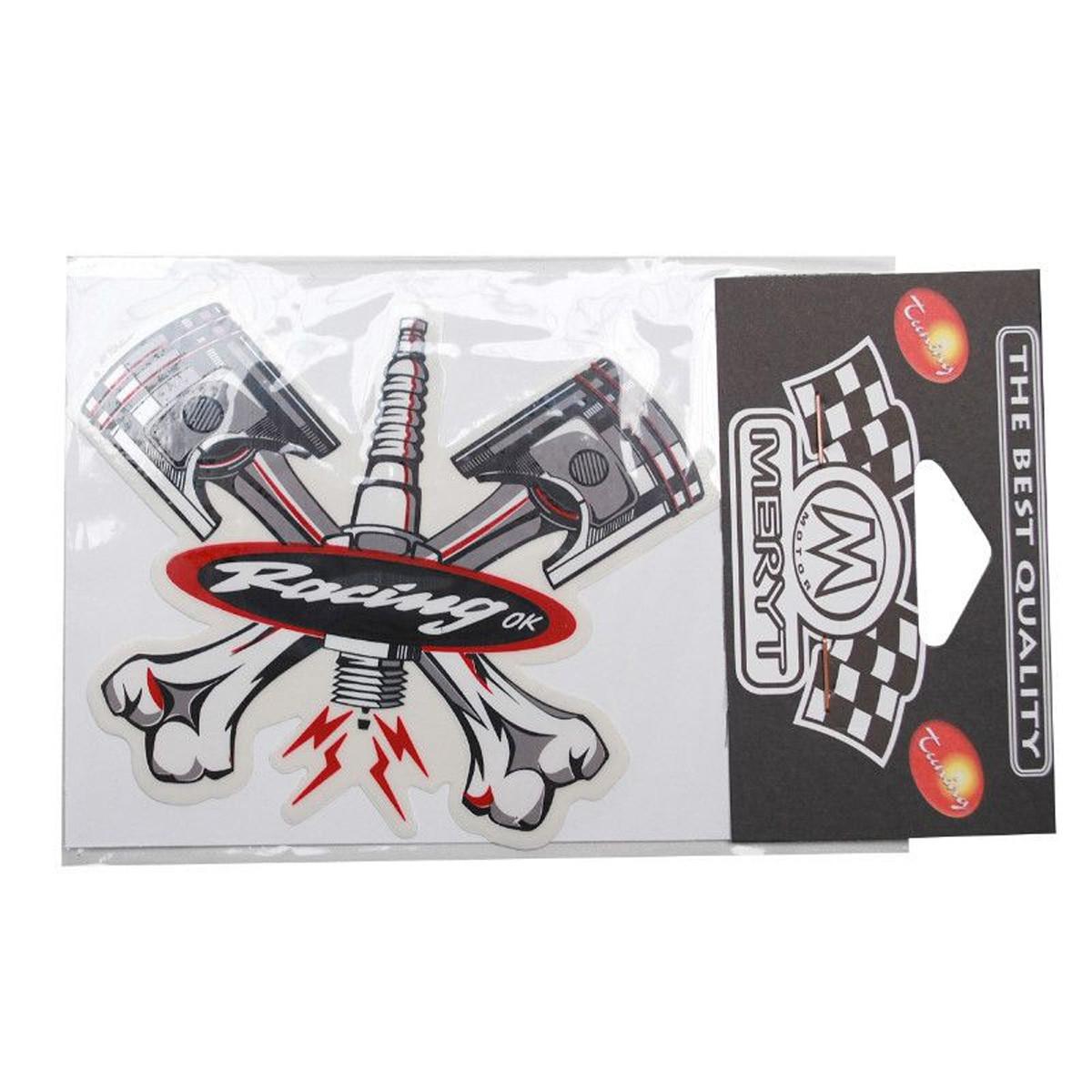 Autocollant / Sticker - MERYT Racing 2 Piston 1 Bougie 11.5cm