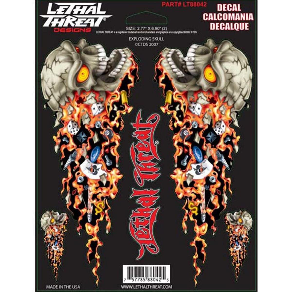 Autocollant / Sticker - LETHAL THREAT Exploding Skull 15 x 20cm