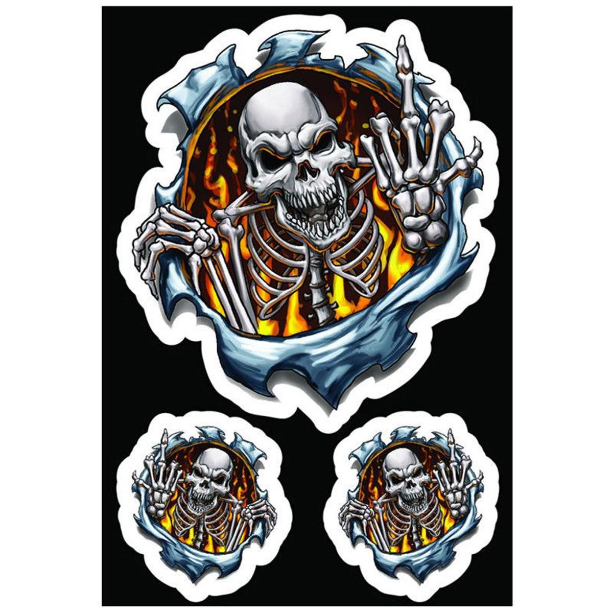 Autocollant / Sticker - LETHAL THREAT Finger Skull 7.5 x 14cm
