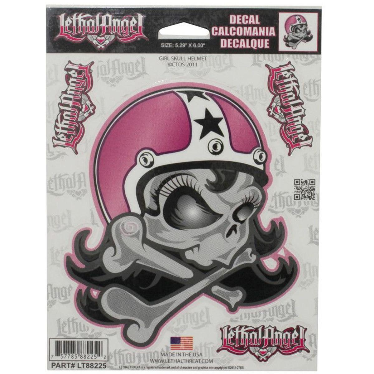 Autocollant / Sticker - LETHAL THREAT Girl Skull Helmet 15 x 20cm