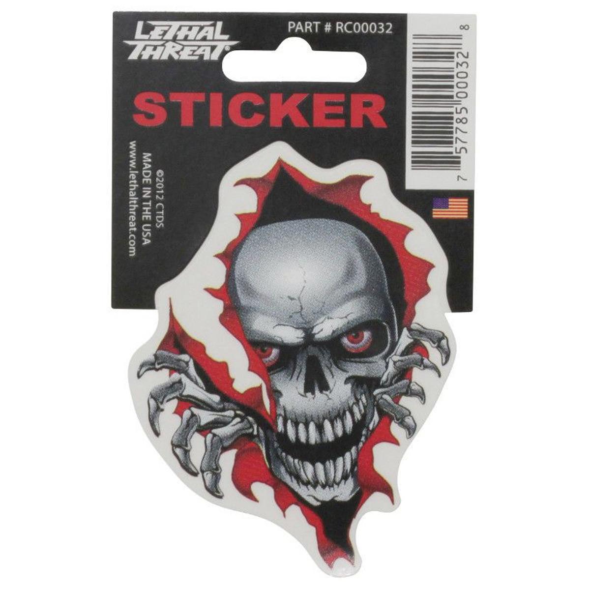 Autocollant / Sticker - LETHAL THREAT Mini Tete De Mort Dechirure 6 x 8cm